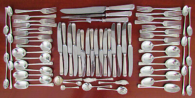 Mappin & Webb Art Deco Style Tapered Stack Sterling Silver Cutlery Set c1945