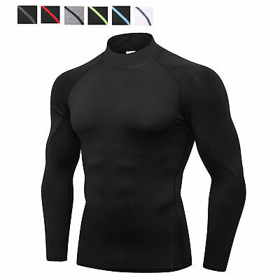 Men's Compression Shirt Mock Athletic Sports Base Layer Gym Running Wicking Fit