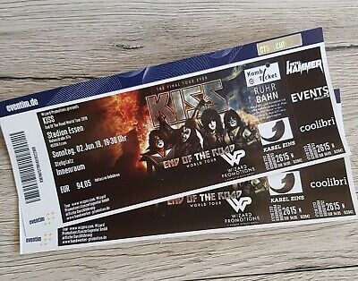 2x Ticket KISS - Essen 02.06.19 Stehplatz Innenraum - End of the Road World Tour