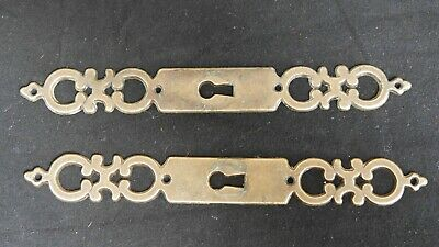 Pair Antique Brass French Key Door Furniture Escutcheon