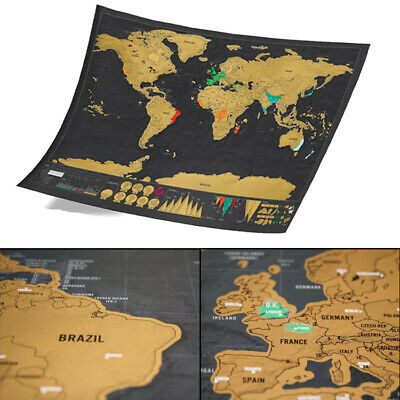 Deluxe Scratch Off World Map Poster Journal Log Giant Map Of The World Gift New