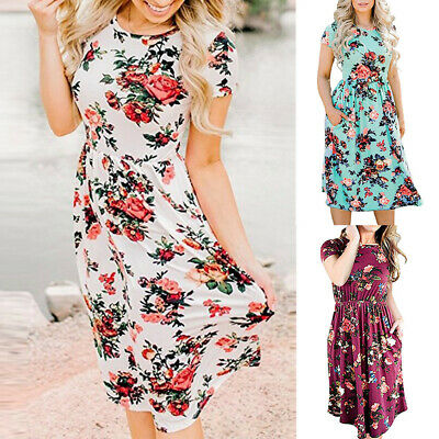Womens Sexy O-Neck Flowers Boho Dress Lady Beach Summer Sundrss Maxi Dress CA