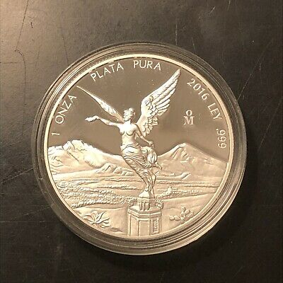 MEXICO 2016 LIBERTAD 1 ounce PROOF silver piece, encapsulated, nice, scarce dat