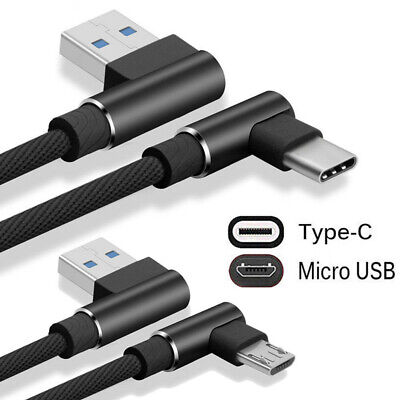 Braided 90 Degree Right Angle Type C/ Micro USB/IOS Fast Data Sync Charger Cable