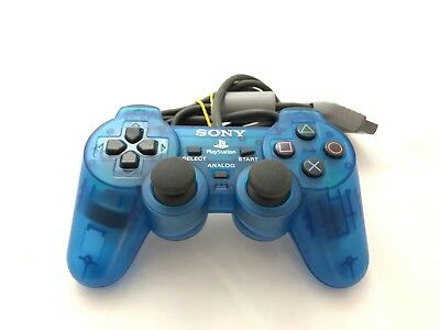 Official Sony Playstation 1 PS1 TRANSPARENT CLEAR BLUE Controller SCPH-1200