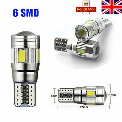 2 X T10 5630 SMD 6 LED Car Bulbs ERROR FREE CANBUS White Wedge Light W5W 194 192