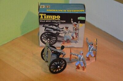 Timpo Toys Wild West Collection-Gatling Gu +2x Confederate Soldiers + Box Nr.759