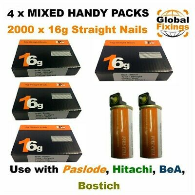 MIXED 2000 x ( 32mm + 50mm ) 16g STRAIGHT & 2 x Fuel Cell for Paslode IM65/250