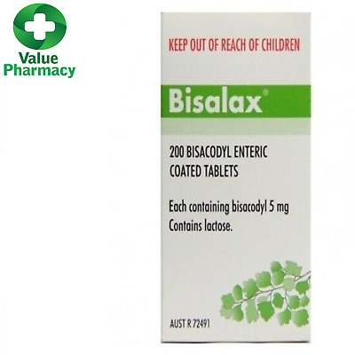 New Bisalax 5mg 200 Tablets Constipation Relief
