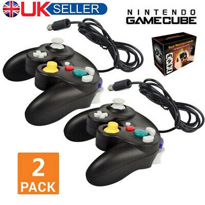 2 Pcs Wired Shock Video Game Controller Pad for Nintendo GameCube GC&Wii Black