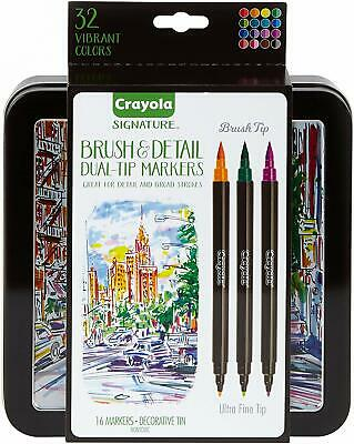 Crayola Brush Markers, Dual-Tip with Ultra Fine Marker