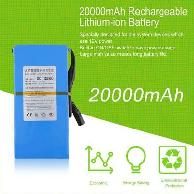 DC 12V 20000mAh Portable Li-ion Rechargeable Battery Pack +Power Adapter