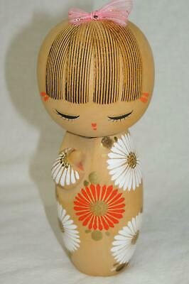 "Vintage 7"" Japanese Kokeshi Wooden Hand Carved Doll With Blooming Flowers Signed"