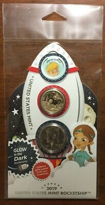 """2019  Rocketship 2 coin set with Kennedy Half Dollar with """"Proof Like""""   Finish"""