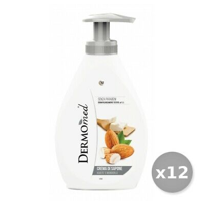 Set 12 DERMOMED Liquid Soap 300 Ml Shea '/ Almond Hygiene And Cleaning Personnel
