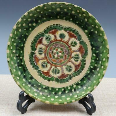 """8"""" Chinese old antique Porcelain Tri colored glazed pottery carving flower plate"""
