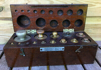 Antique BAIRD & TATLOCK Apothecary Scientific Chemist Brass Weights Mahogany Box