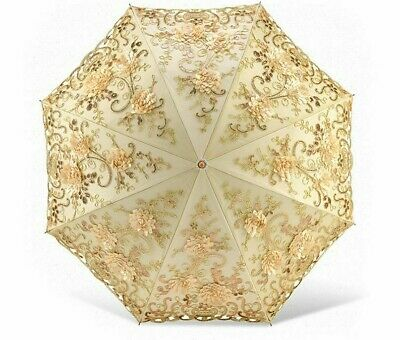 Umbrella UV Protection Parasol Weatherproof Lace Embroidered Flower Folded Shade