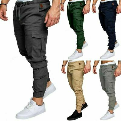 Mens Fit Tracksuit Sport Gym Skinny Jogging Joggers Sweat Cargo Pants Trousers