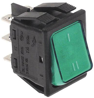 Rocker Switch 2-pin 250V 2CO Green Connection Faston 6,3mm Illuminated 16A IP40