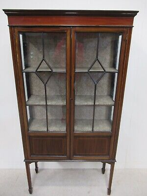 Antique Edwardian Inlaid Mahogany Display Cabinet Unusual Design Very Elegant