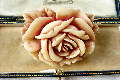 Vintage Art Deco Carved Celluloid Rose Flower Brooch Pin Foreign