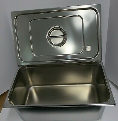 """8"""" Deep Full Size GN1/1 Steam Table Food Pan w/ Lid Stainless Steel Sint Plast"""