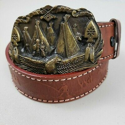 Vintage Native American 1993 Gap Buckle & Fishing Scene Leather Belt Size 36