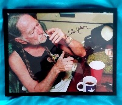 "WILLIE NELSON  Pot Tray HAND-SIGNED ""Firing up in his tour bus""  Iconic photo ra"