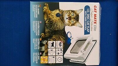 Cat Mate Elite I.D. Disc Cat Flap With Timer Control In White For Cats 305W