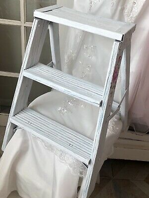 Vintage Shabby Rustic Wood Step Ladder Decor Shelf Distressed Farmhouse HP Roses
