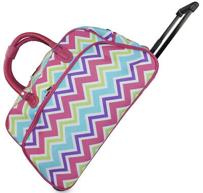 Pink Chevron Striped Rolling Wheeled Duffle Bag Duffel Carry On Womens - USED