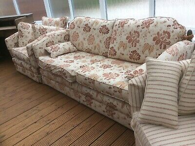 antique,style,2 seat,Knoll sofa & 2 Chairs,drop sides,feather cushions,reduced
