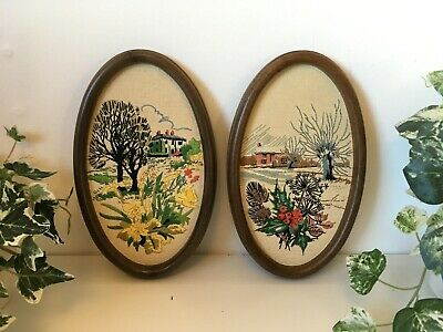 Pair Of Vintage 1950s Embroidered Handmade Wall Art Hanging Oval Pictures MCM
