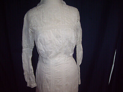 Edwardian Antique 1900s Lawn Lace Dress Victorian Gown LONG SLEEVES XS