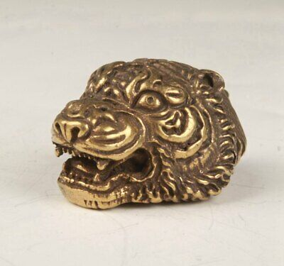 Rare Bronze Hand Carving Tiger Head Statue Figurine Old Collection