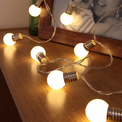Festive Lights Light Bulb Fairy Lights - Battery Operated - Frosted Bulb - 10 -