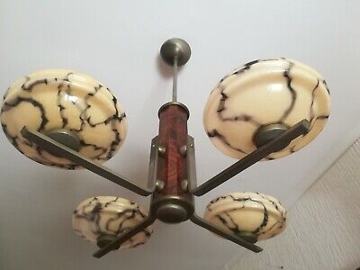 European Art Deco Chandelier / Four Arms Chandelier /Marbled Brown Glass / 1930s