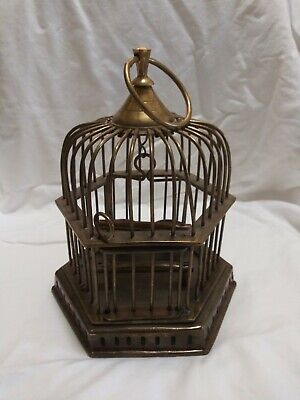 "Vintage Solid Brass Hanging Bird Cage w/Swing Perch & Bowls 9"" High 7.5"" Wide"