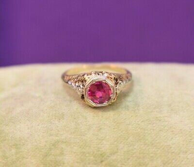 Antique Art Deco 14k yellow gold filigree platinum Ruby solitaire ring sz 6 1/4