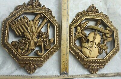 Vintage Syroco Music Instrument Theme Wall Art Plaques 2 Goldtone 12 inch