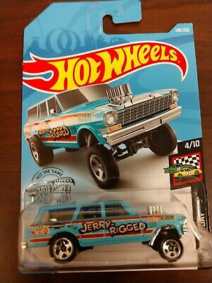 '64 NOVA WAGON GASSER #198 blue JERRY-RIGGED Race Day 2019 Hot Wheels K Case
