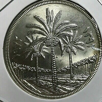 1972 Iraq Silver Dinar Crown Brilliant Uncirculated Coin Date Palms