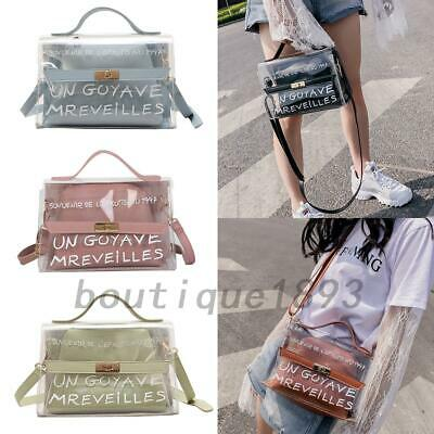 2pcs Clear English Letter Jelly Cosmetic Make-up Crossbody Shoulder Bag Handbags