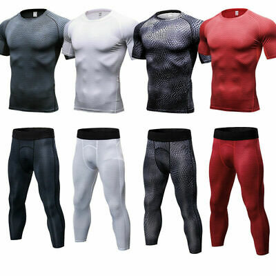 Mens Compression 3/4 Pants Top Workout Running Gym Base Layers Quick-dry Tights