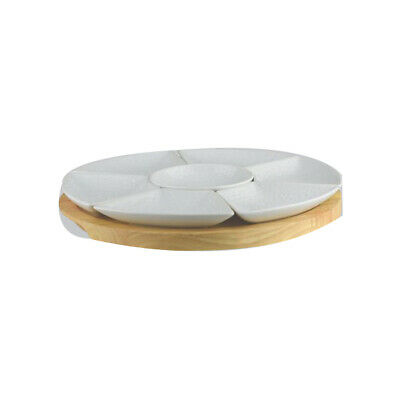 4x Round Platter Set 290mm Bamboo Porcelain Longfine Classicware 8 Pieces NEW