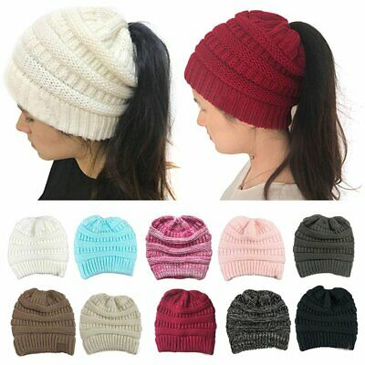 Women Tail Messy Soft Beanie Bun Hat Ponytail Stretchy Knitted Crochet Gift