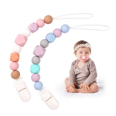 Dummy Clips Baby Girls Pacifier Chain Silicone Teething Relief Toys Beads Kit, &