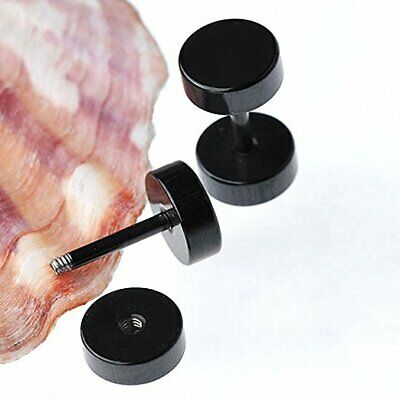 Black Round Barbell Stainless Steel Mens Ear Stud Earring Gothic Punk