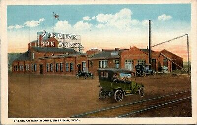 Sheridan Wyoming~Iron Works Plant~Railroad Tracks by Factory~Vintage Cars~1916